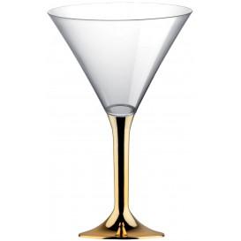 Flûte Plastique Cocktail Pied Or Chrome 185ml 2P (20 Utés)