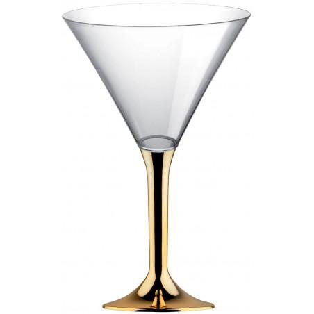 Flûte Plastique Cocktail Pied Or Chrome 185ml (200 Utés)