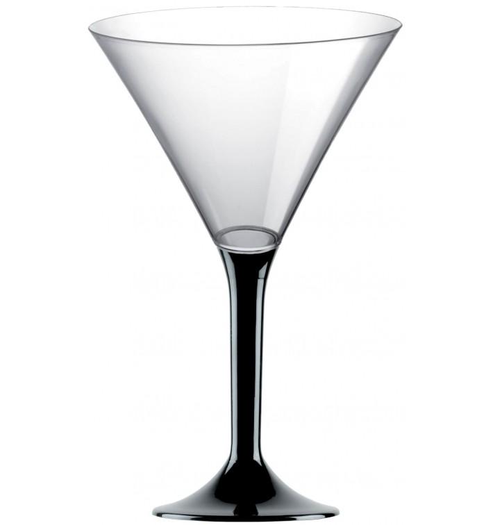 Flûte Plastique Cocktail Pied Noir 185ml 2P (20 Utés)