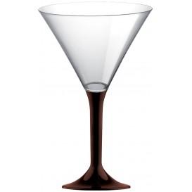 Flûte Plastique Cocktail Pied Marron 185ml 2P (20 Utés)
