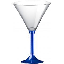 Flûte Plastique Cocktail Pied Bleu Perlé 185ml 2P (20 Utés)