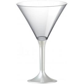 Flûte Plastique Cocktail Pied Blanc Perlé 185ml 2P (20 Utés)