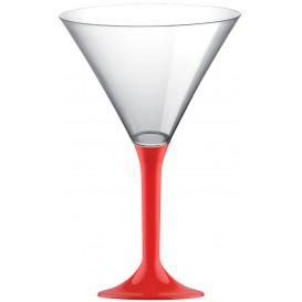 Flûte Plastique Cocktail Pied Rouge 185ml 2P (200 Utés)