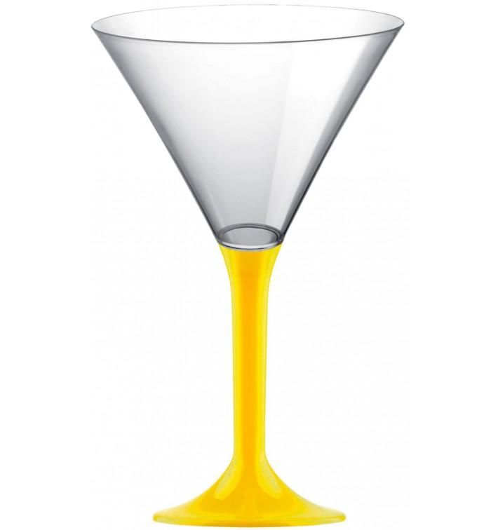 Flûte Plastique Cocktail Pied Jaune 185ml 2P (200 Utés)