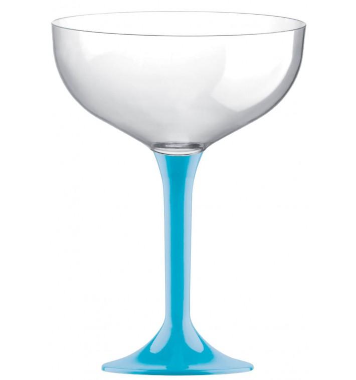 Flûte Champagne Plastique Pied Turquoise 200ml 2P (20 Utés)