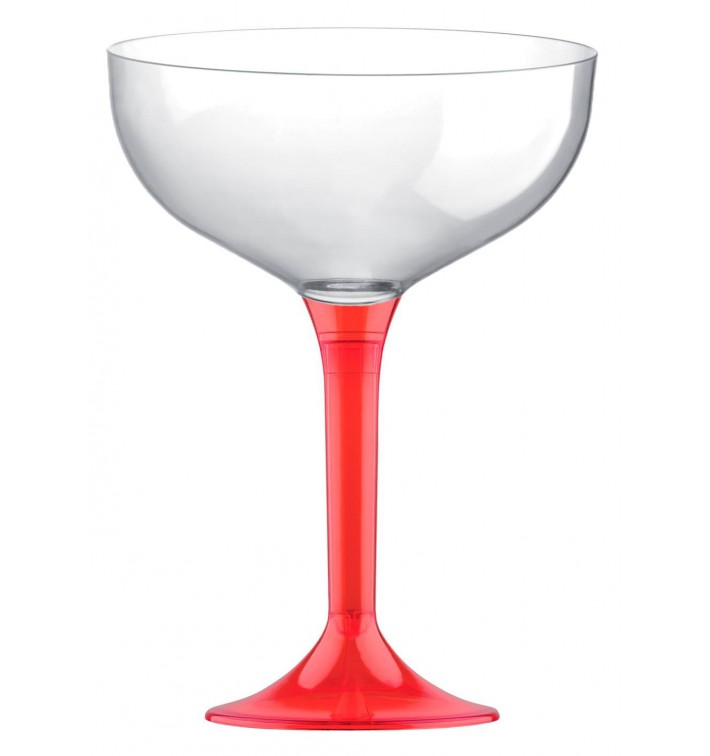 Flûte Champagne Plastique Pied Rouge Trans. 200ml 2P (20 Utés)