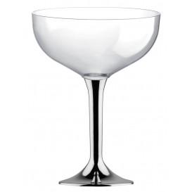 Flûte Champagne Plastique Pied Argent Chrome 200ml 2P (20 Utés)