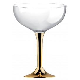 Flûte Champagne Plastique Pied Or Chrome 200ml 2P (200 Utés)