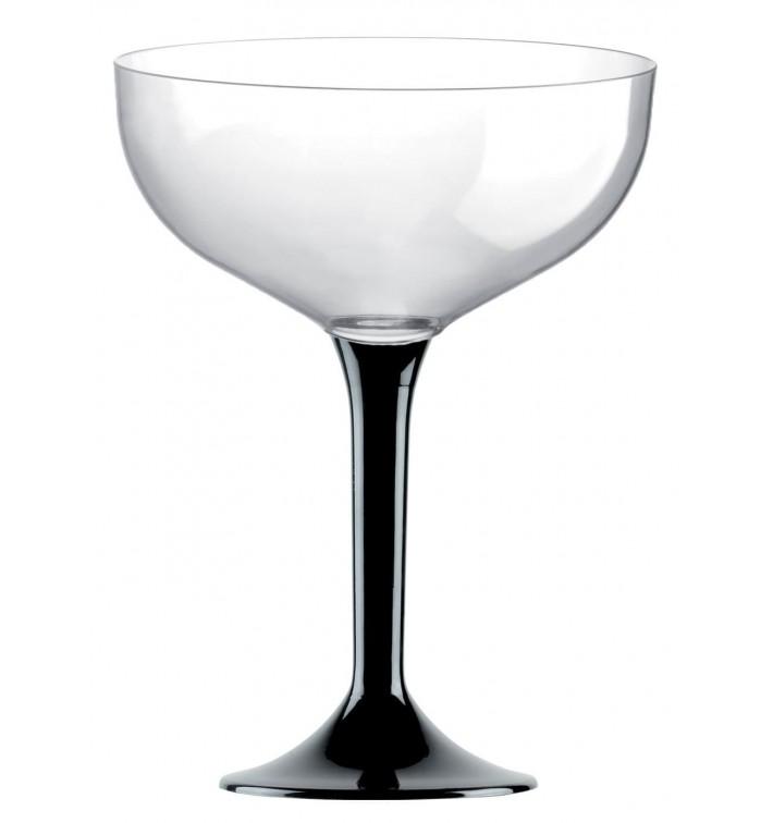 Flûte Champagne Plastique Pied Noir 200ml 2P (200 Utés)