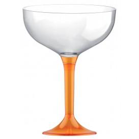 Flûte Champagne Plastique Pied Orange Transp. 200ml (20 Unités)