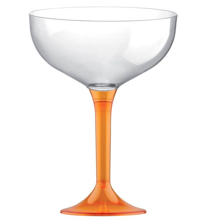 Flûte Champagne Plastique Pied Orange Trans. 200ml 2P (20 Utés)