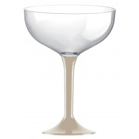 Flûte Champagne Plastique Pied Beige 200ml 2P (20 Utés)