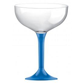 Flûte Champagne Plastique Pied Bleu Trans. 200ml 2P (20 Utés)