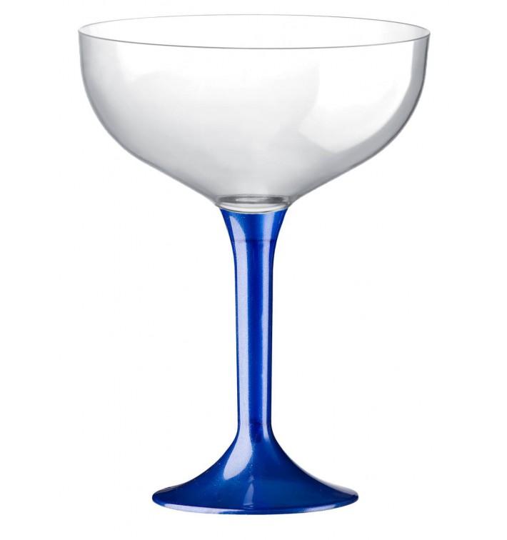 Flûte Champagne Plastique Pied Bleu Perlé 200ml 2P (20 Utés)