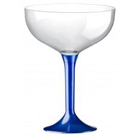 Flûte Champagne Plastique Pied Bleu Mediterrannée 200ml (20 Unités)