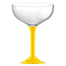 Flûte Champagne Plastique Pied Jaune 200ml (20 Unités)