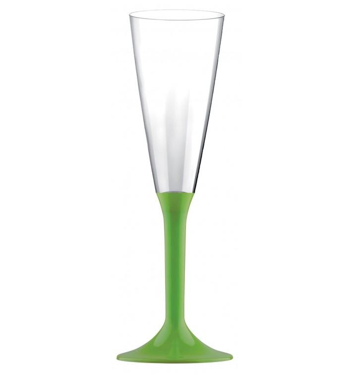 Flûte Champagne Plastique Pied Vert citron 160ml 2P (20 Utés)