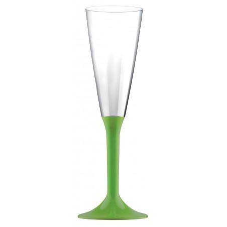 Flûte Champagne Plastique Pied Vert citron 160ml (20 Utés)