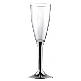 Flûte Champagne Plastique Pied Argent Chrome 120ml 2P (20 Utés)