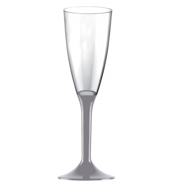 Flûte Champagne Plastique Pied Gris 120ml 2P (200 Utés)