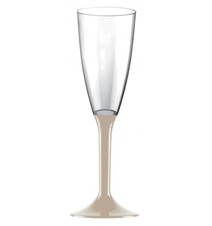 Flûte Champagne Plastique Pied Beige 120ml 2P (20 Utés)