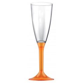 Flûte Champagne Plastique Pied Orange Transp.120ml 2P (200 Utés)