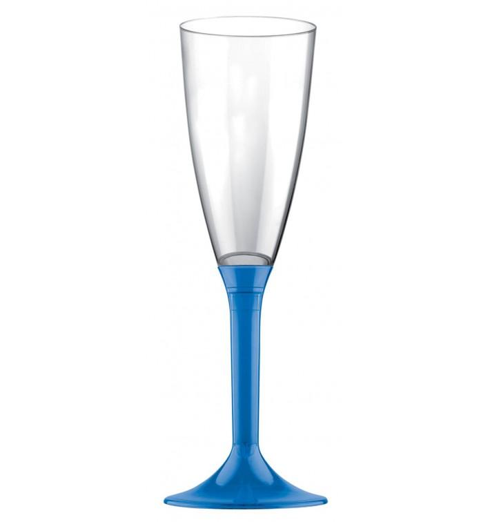 Flûte Champagne Plastique Pied Bleu Transp. 120ml 2P (20 Utés)