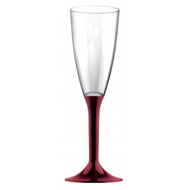 Flûte Champagne Plastique Pied Bordeaux 120ml 2P (200 Utés)