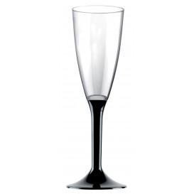 Flûte Champagne Plastique Pied Noir 120ml 2P (200 Utés)