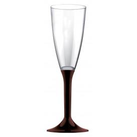 Flûte Champagne Plastique Pied Marron120ml 2P (20 Utés)