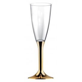 Flûte Champagne Plastique Pied Or Chrome 120ml (20 Utés)