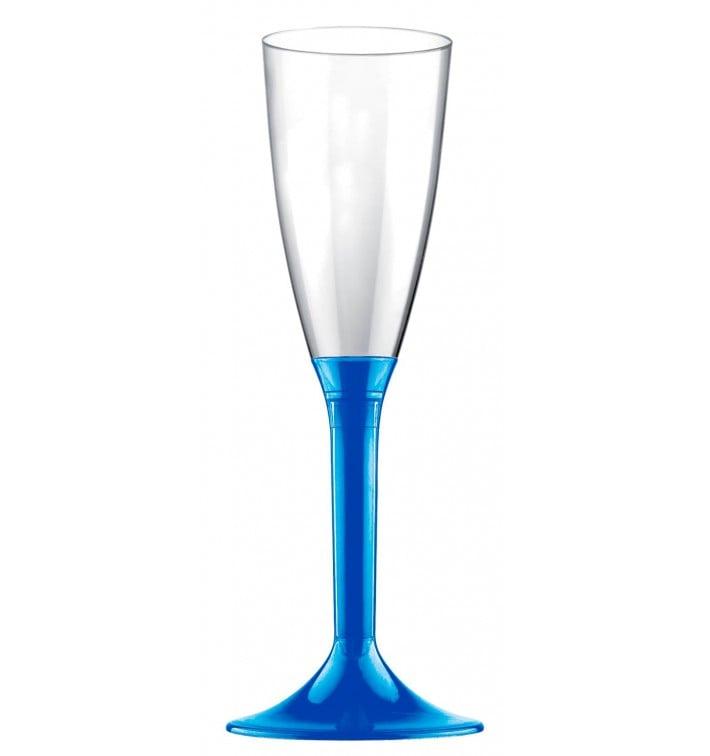 Flûte Champagne Plastique Pied Bleu Mediterrannée 120ml 2P (20 Utés)