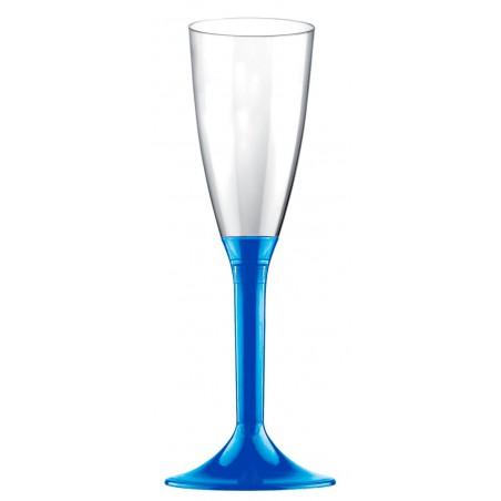 Flûte Champagne Plastique Pied Bleu Mediterrannée 120ml (20 Utés)