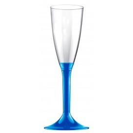Flûte Champagne Plastique Pied Bleu Mediterrannée 120ml 2P (200 Utés)