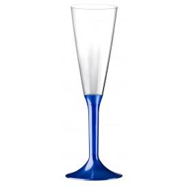 Flûte Champagne Plastique Pied Bleu Perlé 160ml 2P (20 Utés)