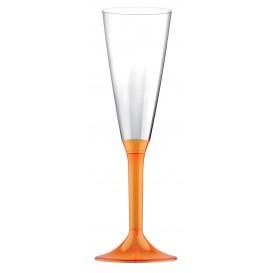 Flûte Champagne Plastique Pied Orange Transp.160ml 2P (20 Utés)