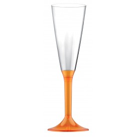 Flûte Champagne Plastique Orange Transp. 160ml (200 Unités)