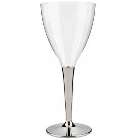 Coupe Plastique Vin Pied Argenté 130ml (10 Unités)