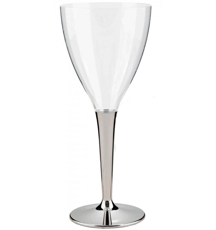 Coupe Plastique Vin Pied Argenté 130ml (10 Utés)