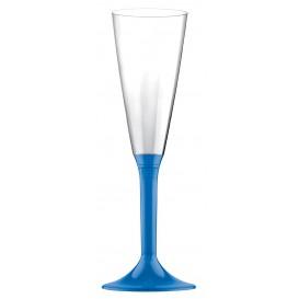 Flûte Champagne Plastique Bleu Transp. 160ml (20 Unités)