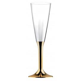 Flûte Champagne Plastique Pied Or Chrome 160ml (200 Utés)