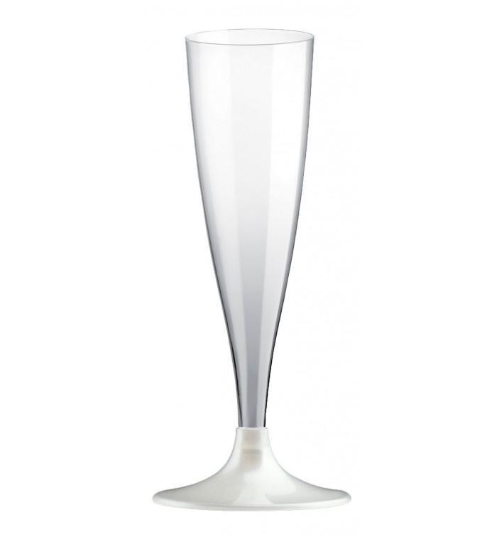 Flûte Champagne Plastique Pied Blanc Perlé 140ml 2P (400 Utés)
