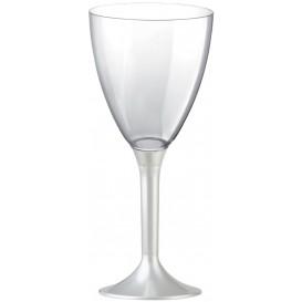 Flûte Plastique Vin Pied Blanc Perlé 180ml (20 Unités)