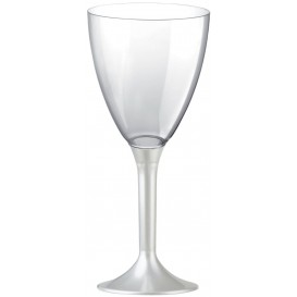 Flûte Plastique Vin Pied Blanc Perlé 180ml (200 Unités)