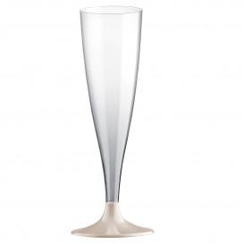 Flûte Champagne Plastique Pied Crème 140ml 2P (400 Utés)