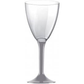 Flûte Plastique Vin Pied Gris 180ml 2P (200 Utés)