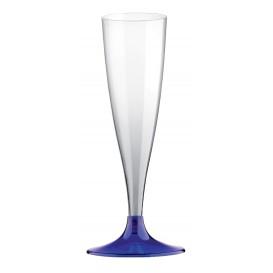 Flûte Champagne Plastique Pied Bleu Transp. 140ml 2P (400 Utés)