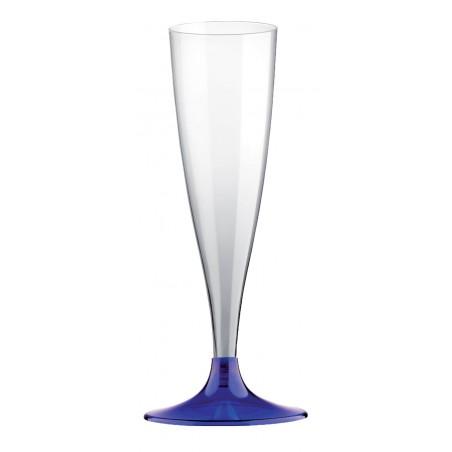Flûte Champagne Plastique Bleu Transp. 140ml (20 Unités)