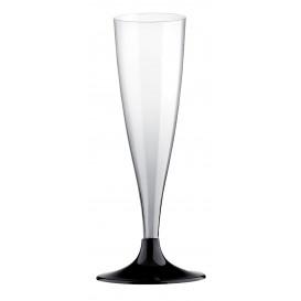 Flûte Champagne Plastique Pied Noir 140ml 2P (6 Utés)