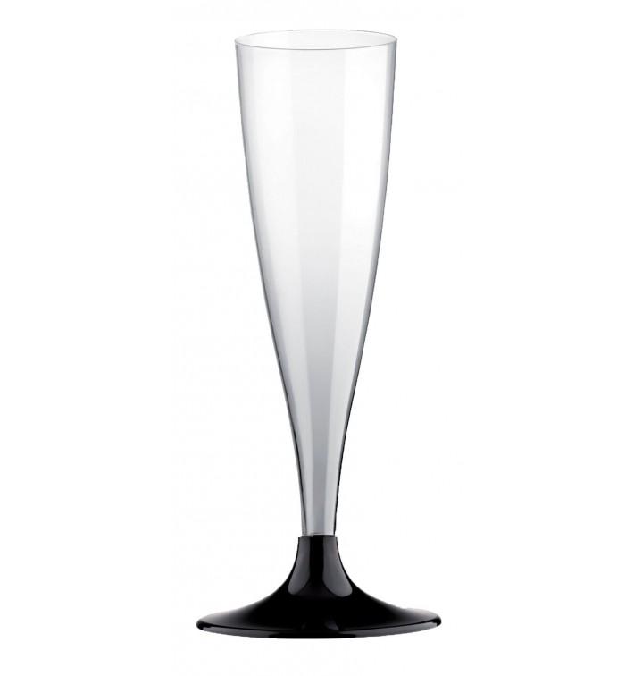 Flûte Champagne Plastique Pied Noir 140ml 2P (20 Utés)